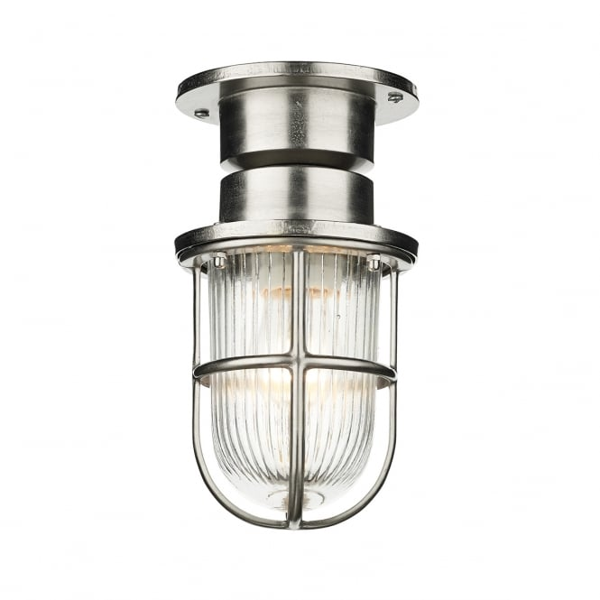 COAST exterior flush fit light in nickel finish with cage protected ribbed glass