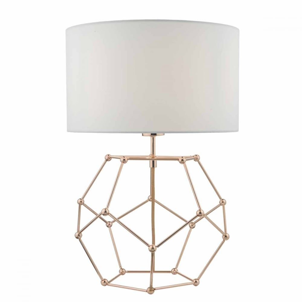 Contemporary Geometric Copper Table Lamp with Shade