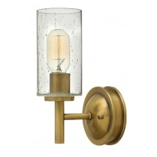 single heritage brass wall light with glass shade