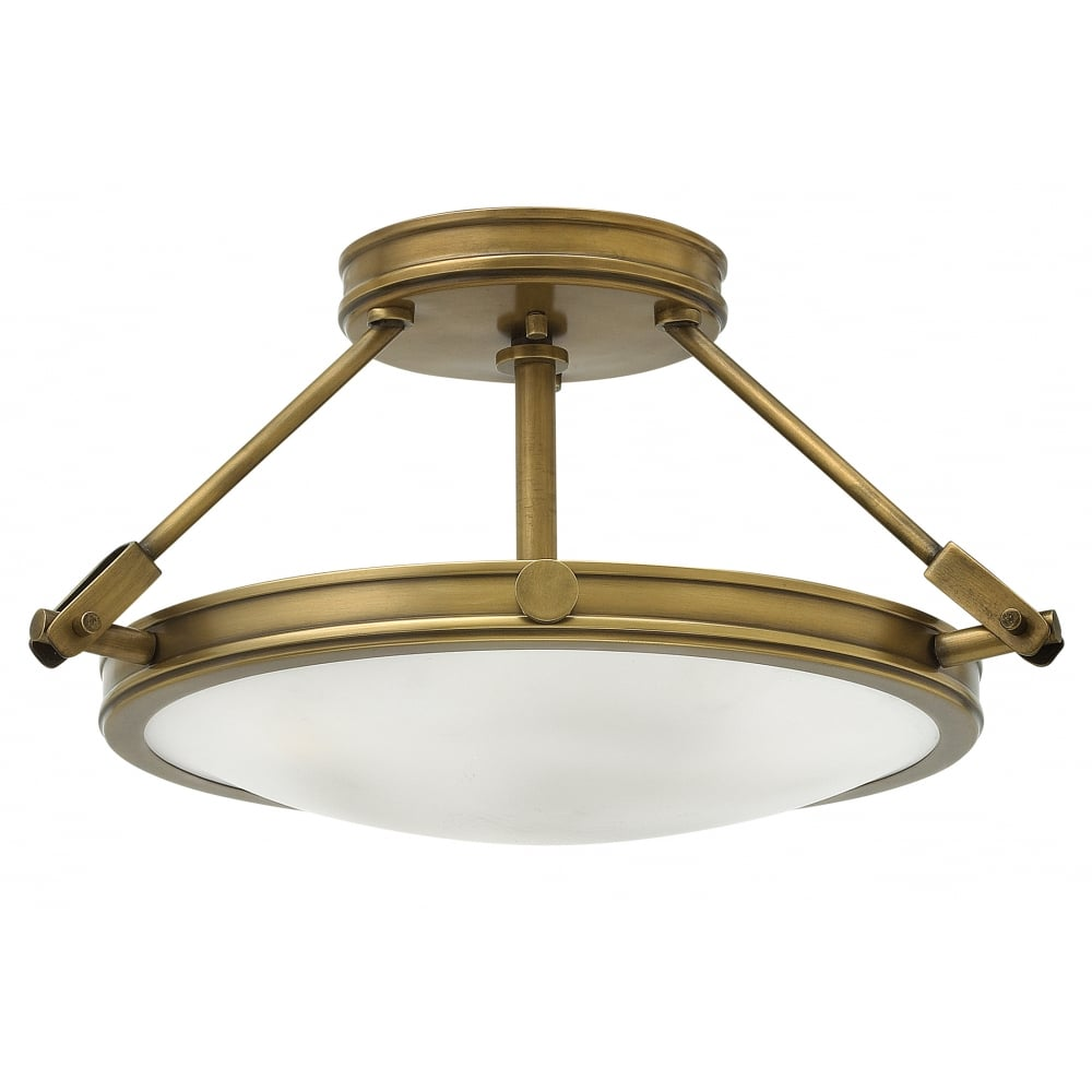 Round Brass Semi Flush Fit Ceiling Light With Opal Glass