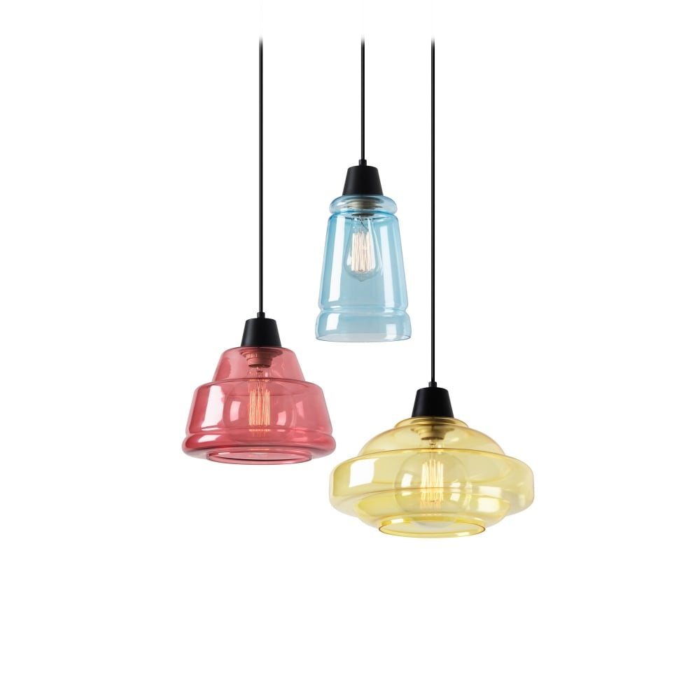 COLOR Decorative Multi Pendant In Pink Blue And Yellow