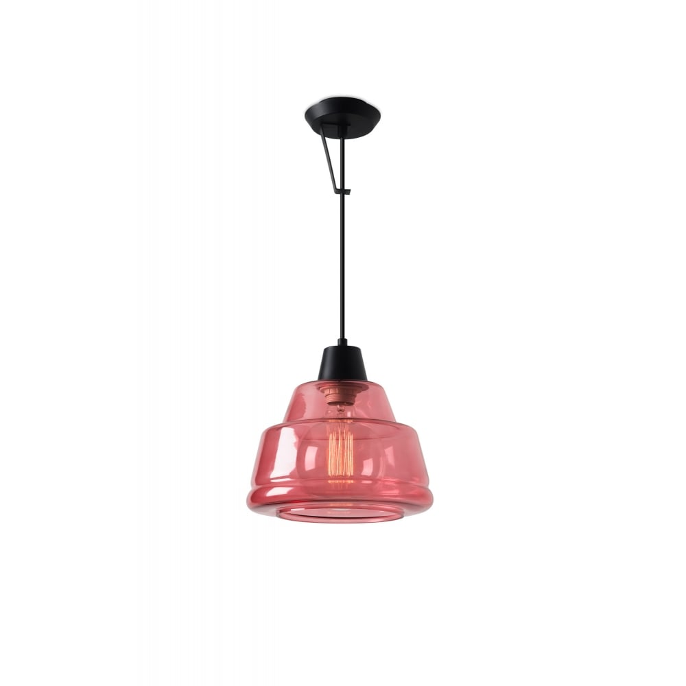 Pink Glass Ceiling Pendant Or Wall Light With Matte Black