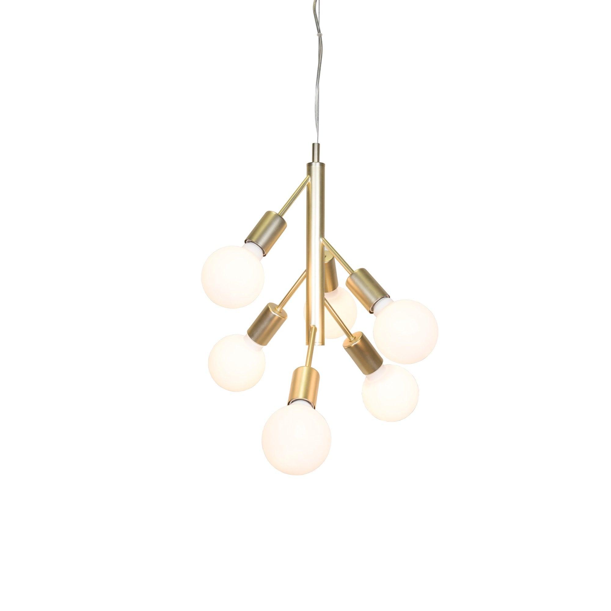Brushed Brass 6 Light Ceiling Pendant Cluster Lighting Company