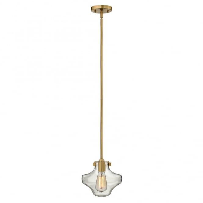 CONGRESS vintage brass ceiling pendant with clear glass shade