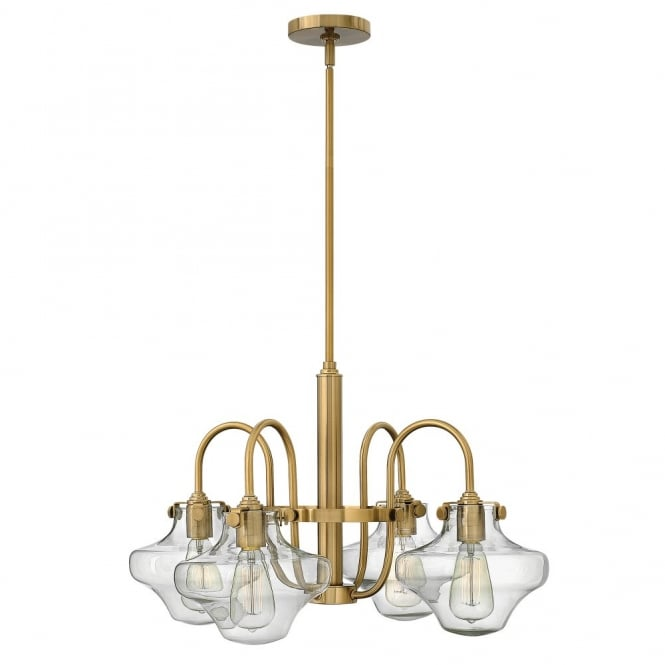 CONGRESS vintage brass chandelier with clear glass shades