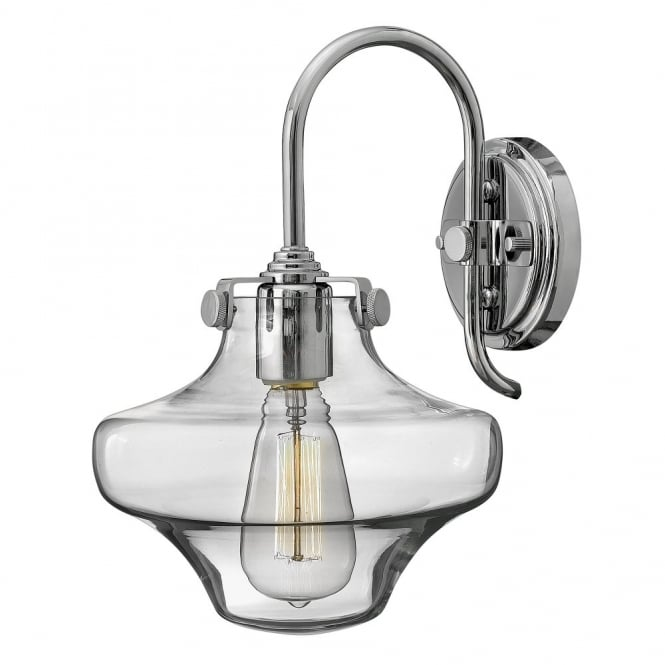 CONGRESS vintage chrome wall light with clear glass shade