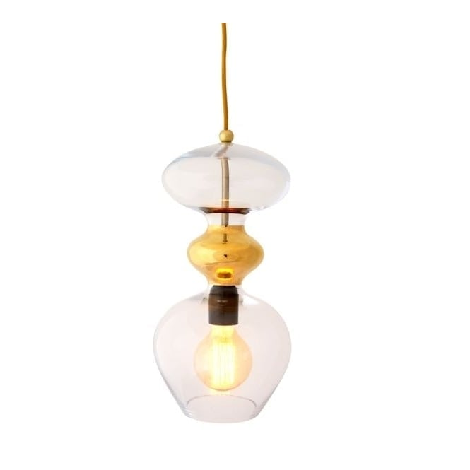 Copenhagen Glass Collection FUTURA clear and gold glass ceiling pendant (large)