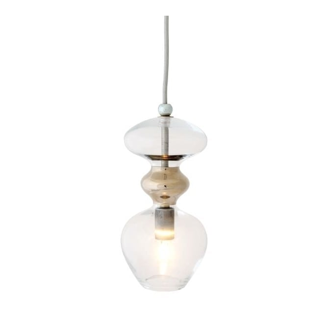 Copenhagen Glass Collection FUTURA clear and platinum glass ceiling pendant (small)