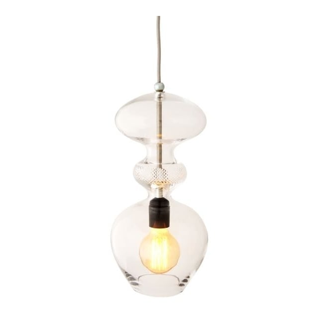 Copenhagen Glass Collection FUTURA crystal and silver glass ceiling pendant (large)