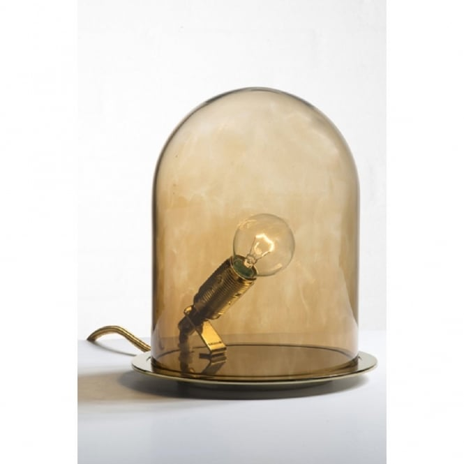 mouth blown glass dome table lamp with bulb in a chestnut brown jar. Black Bedroom Furniture Sets. Home Design Ideas