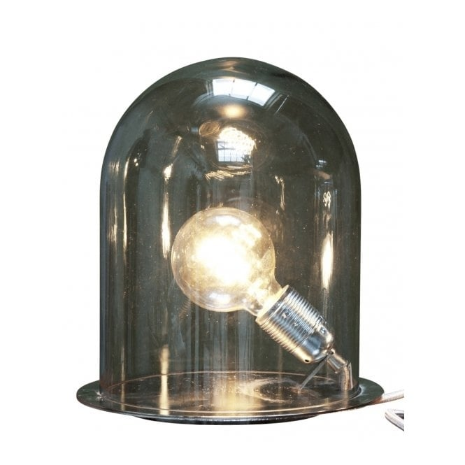 Copenhagen Glass Collection GLOW In A DOME Smokey Grey Glass Table Lamp  (large)
