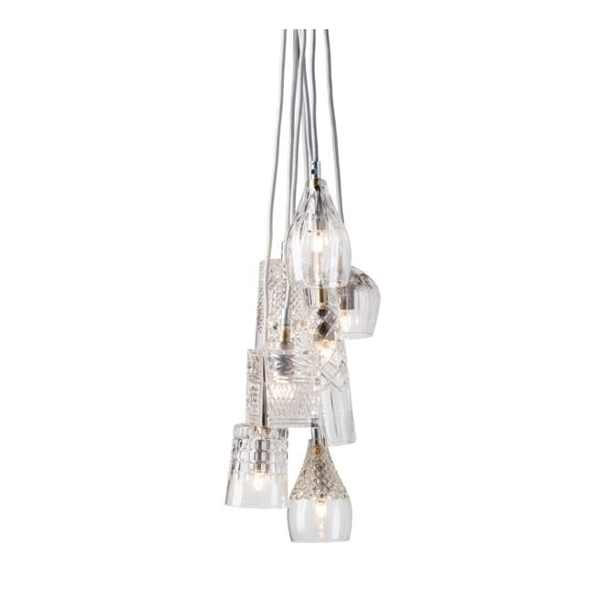 Copenhagen Glass Collection GROUP of 7 lead crystal pendant lights with silver suspension