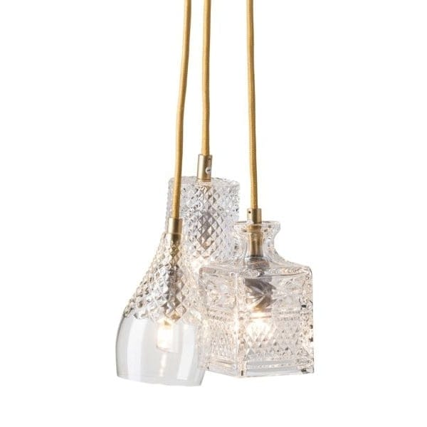 Mouthblown Lead Crystal Ceiling Cluster Pendant With Gold Suspension
