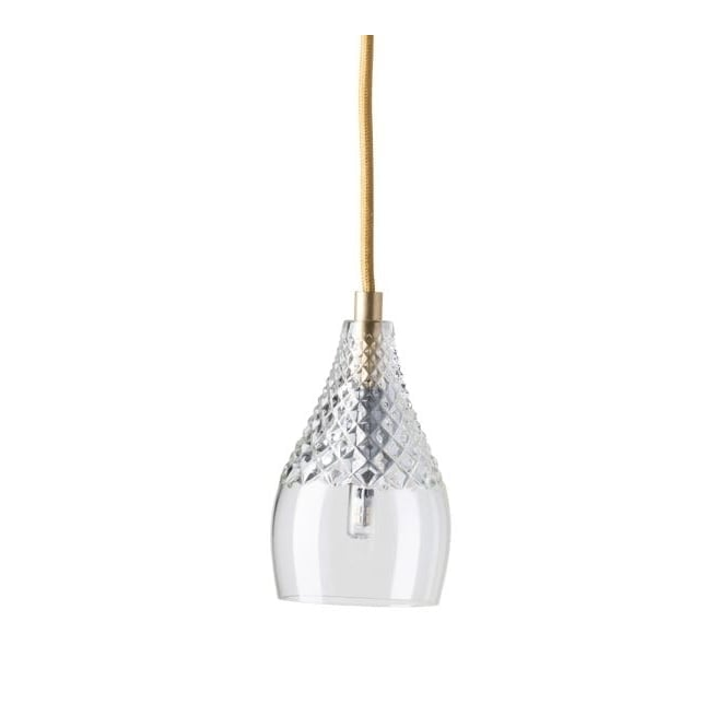 Copenhagen Glass Collection HENLEY lead crystal pendant with gold suspension