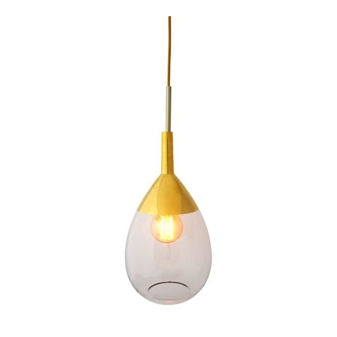 Copenhagen Glass Collection LUTE clear glass and gold pendant