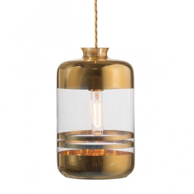 Copenhagen Glass Collection PILLAR BOTTLE ceiling pendant light,clear glass with gold metallic stripes