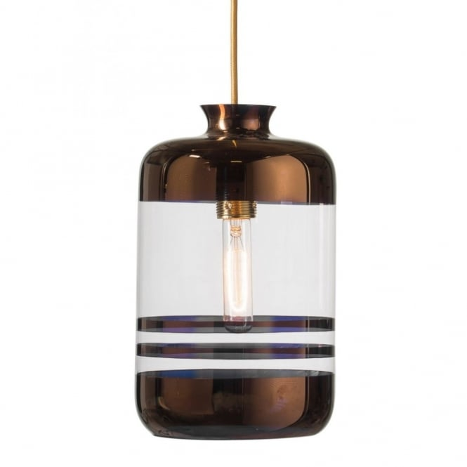 Copenhagen Glass Collection PILLAR BOTTLE ceiling pendant light, clear glass with metallic copper stripes