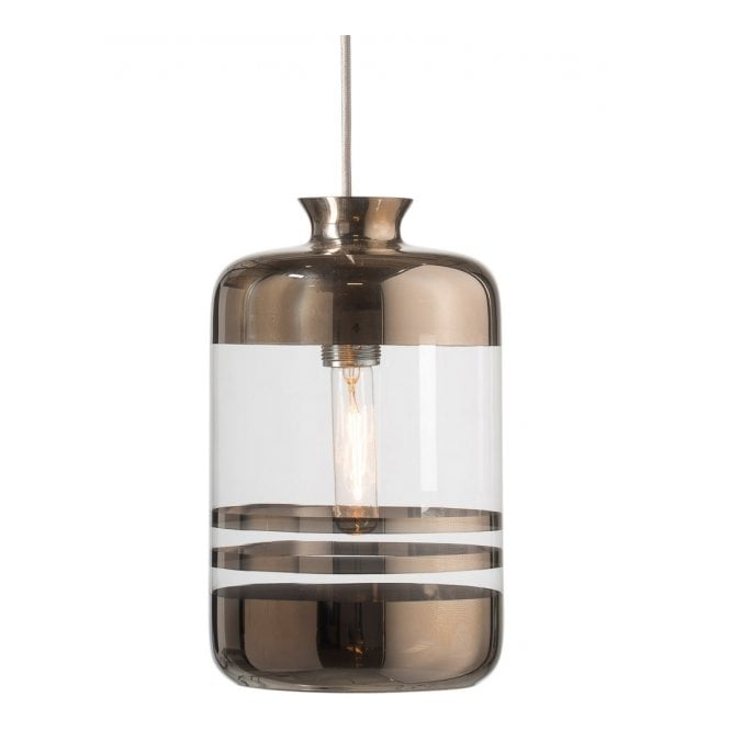 Copenhagen Glass Collection PILLAR BOTTLE ceiling pendant light, clear glass with platinum metallic stripes