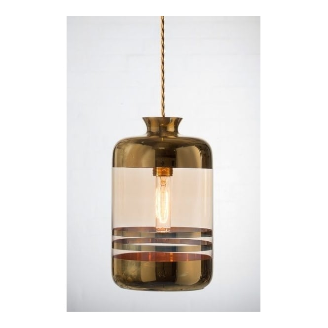 Copenhagen Glass Collection PILLAR BOTTLE ceiling pendant light, pale gold glass with metallic stripes