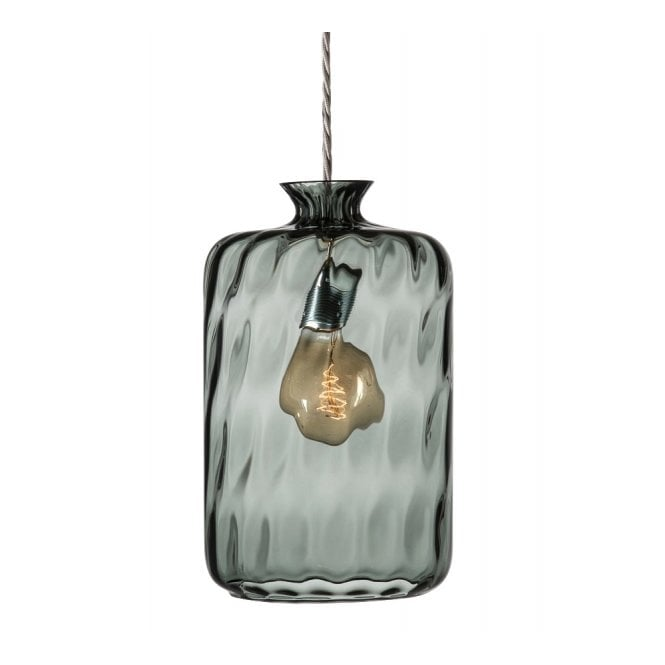 Copenhagen Glass Collection PILLAR BOTTLE hanging ceiling pendant with grey dimpled glass