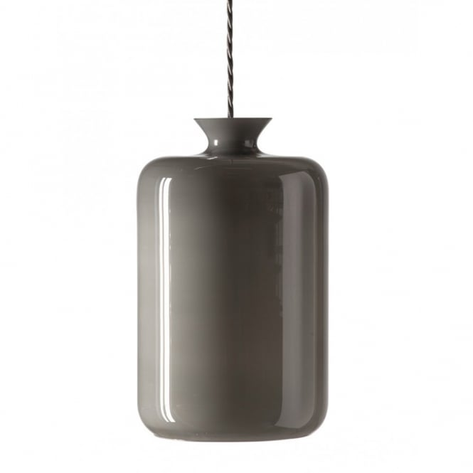 Copenhagen Glass Collection PILLAR BOTTLE hanging ceiling pendant with grey lustre glass