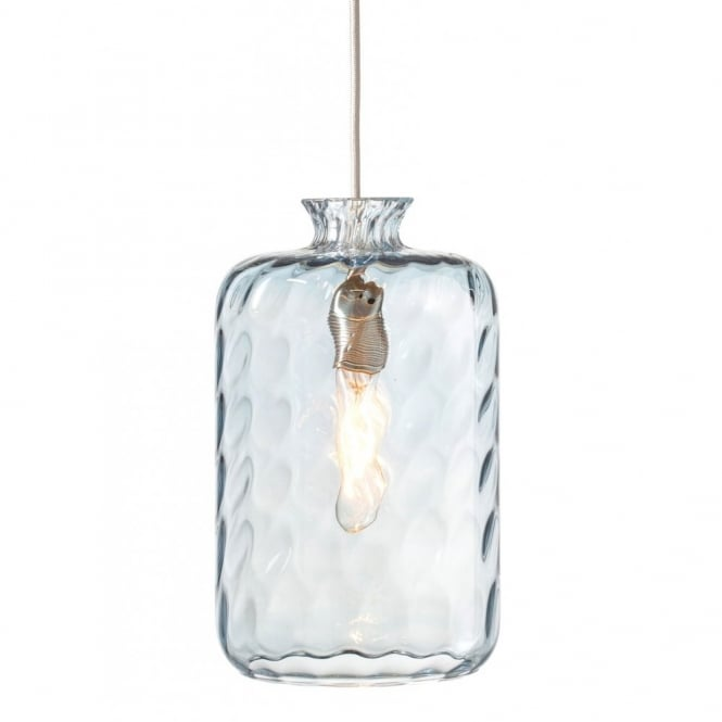 Copenhagen Glass Collection PILLAR BOTTLE hanging ceiling pendant with pale blue dimpled glass