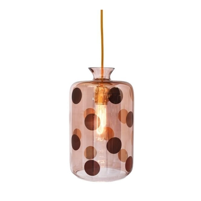 Copenhagen Glass Collection PILLAR copper dots and obsidian glass pendant with gold cable