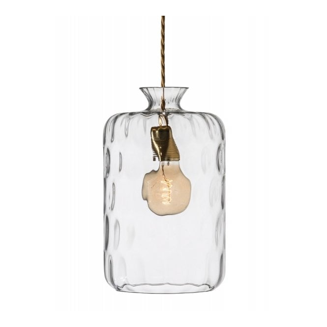 Copenhagen Glass Collection PILLAR LAMP clear dimpled glass ceiling pendant with brass holder