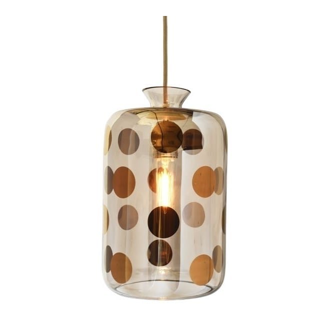 Copenhagen Glass Collection PILLAR platinum dots on grey glass pendant with gold cable