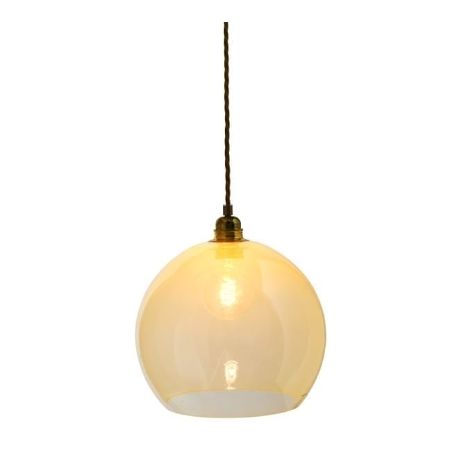 Copenhagen Glass Collection ROWAN alabaster glass pendant with gold cable (medium)
