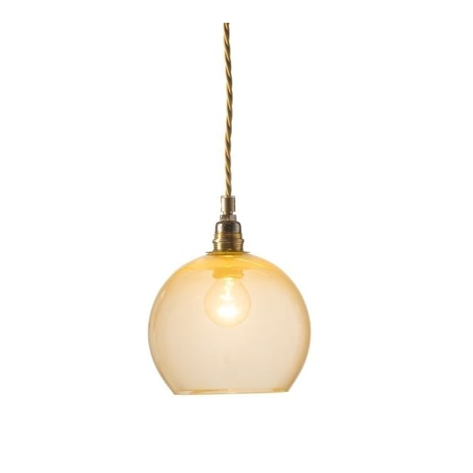Copenhagen Glass Collection ROWAN alabaster glass pendant with gold cable (mini)