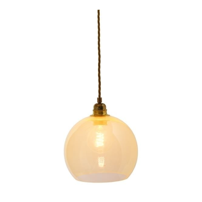 Copenhagen Glass Collection ROWAN alabaster glass pendant with gold cable (small)