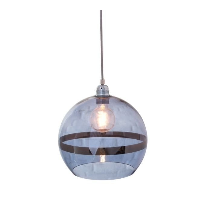 Copenhagen Glass Collection ROWAN blue glass and blue stripe pendant with silver cable (medium)
