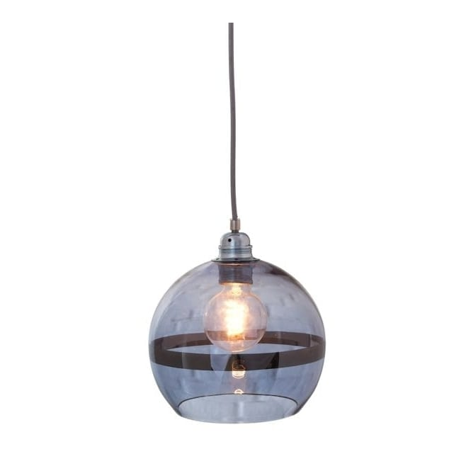 Copenhagen Glass Collection ROWAN blue glass and blue stripe pendant with silver cable (mini)