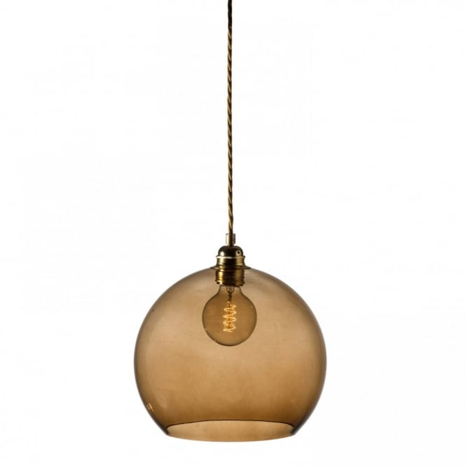 Copenhagen Glass Collection ROWAN chestnut brown glass ceiling pendant light, medium size