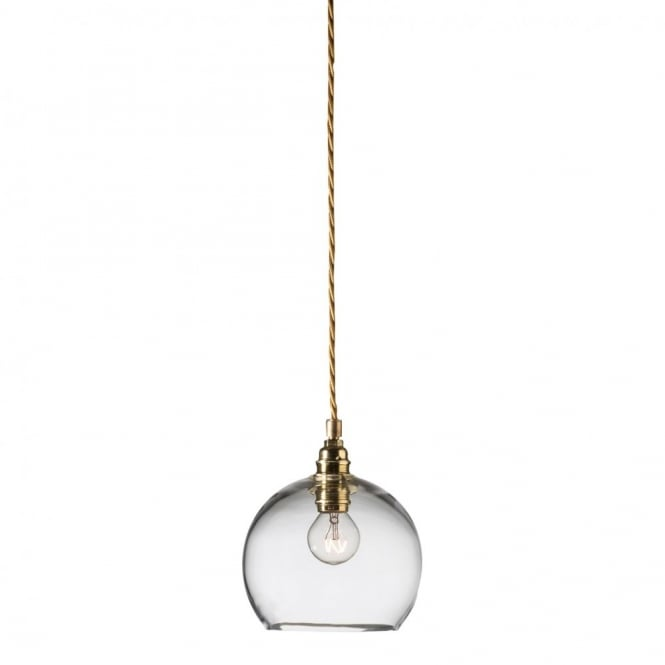 Copenhagen Glass Collection ROWAN clear glass ceiling pendant light, gold cable (mini)