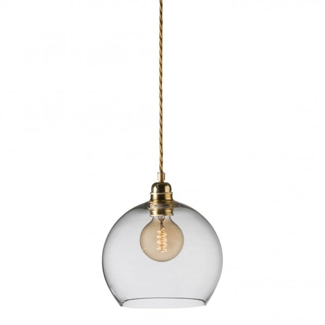 ROWAN clear glass ceiling pendant light, gold cable (small)