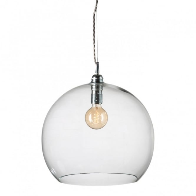 Copenhagen Glass Collection ROWAN clear glass ceiling pendant light, large size