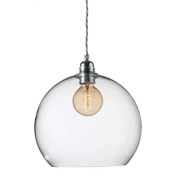 Clear blown glass ceiling pendant with silver braided cable - Clear glass ceiling light ...