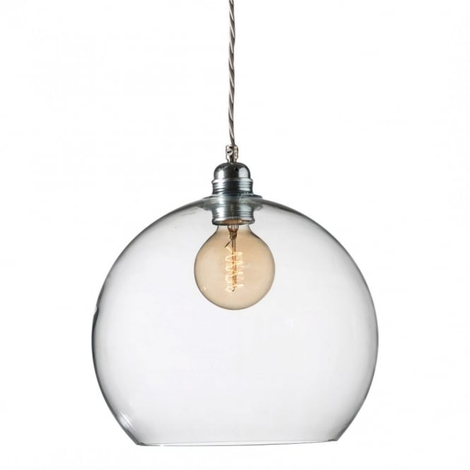 Copenhagen Glass Collection ROWAN clear glass ceiling pendant light, medium size