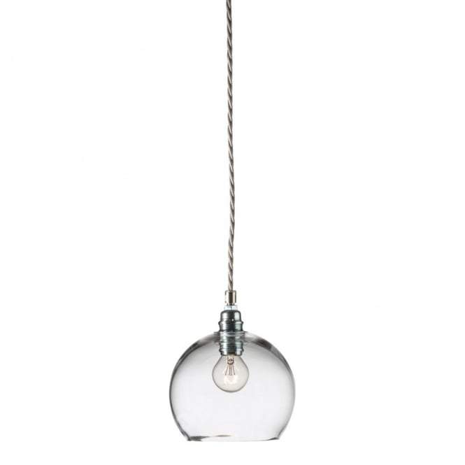 Clear Blown Glass Ceiling Pendant With Silver Braided Cable