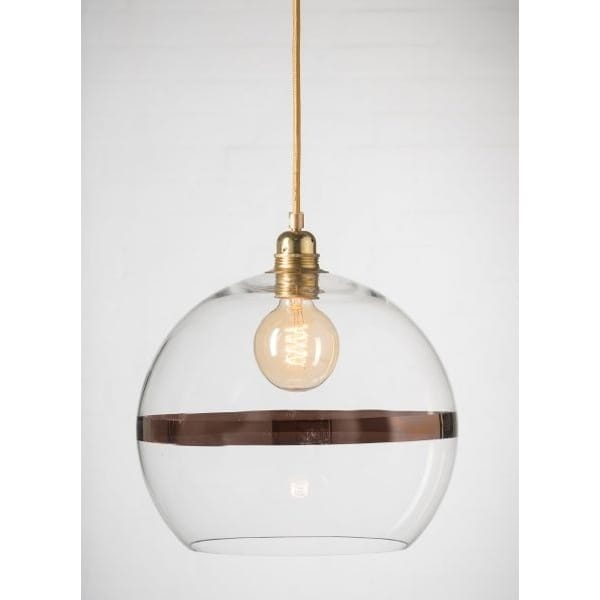 Glass Globe Pendant Light Nz Large Uk Clear Fixtures: Clear Glass Globe Ceiling Pendant With Copper Metallic