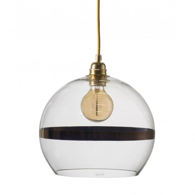 Copenhagen Glass Collection ROWAN clear glass ceiling pendant light with copper stripe (medium)