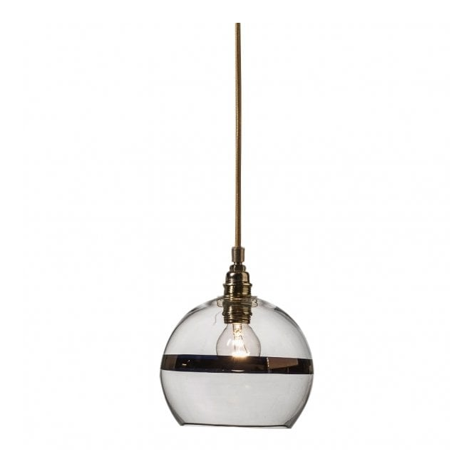 Copenhagen Glass Collection ROWAN clear glass ceiling pendant light with copper stripe (mini)