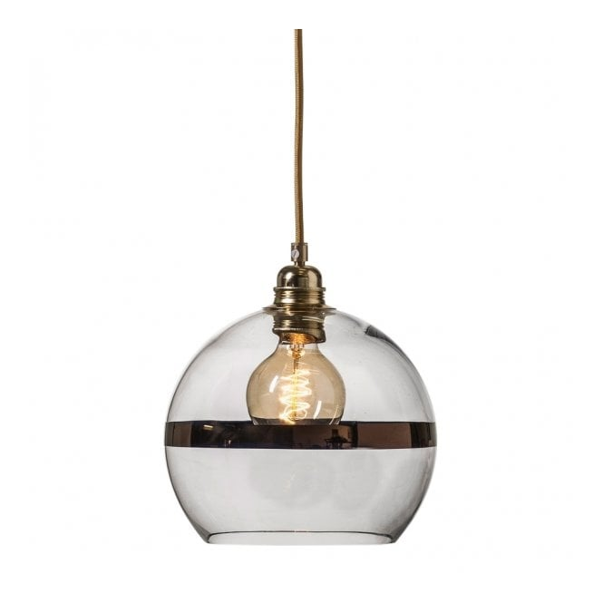 Copenhagen Glass Collection ROWAN clear glass ceiling pendant light with copper stripe (small)