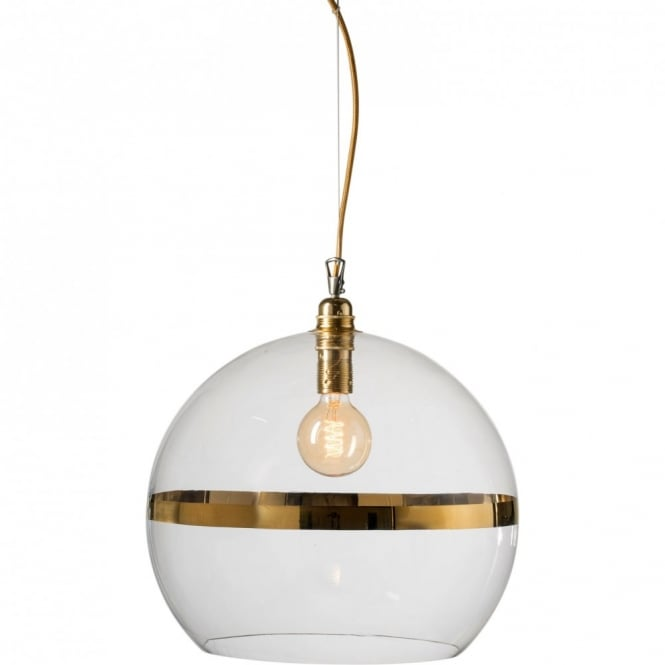 Copenhagen Glass Collection ROWAN clear glass ceiling pendant light with gold stripe (large)