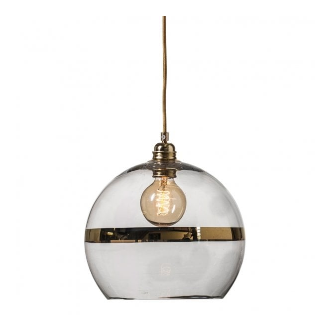 Copenhagen Glass Collection ROWAN clear glass ceiling pendant light with gold stripe (medium)