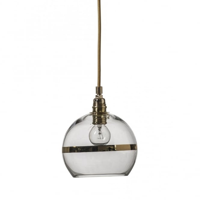 Copenhagen Glass Collection ROWAN clear glass ceiling pendant light with gold stripe (mini)