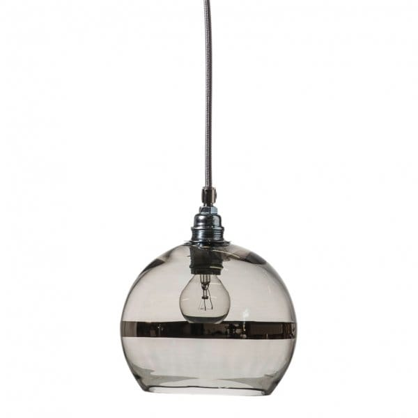 Clear Glass Globe Ceiling Pendant With Platinum Metallic