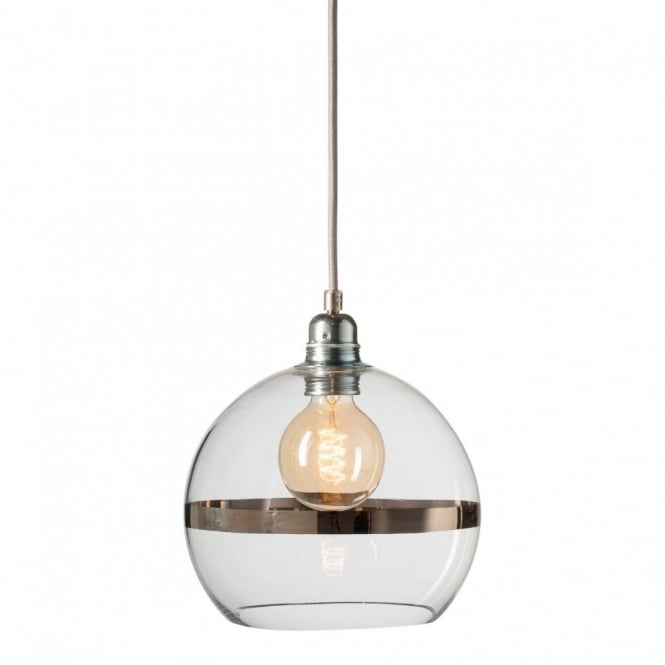 Copenhagen Glass Collection ROWAN clear glass ceiling pendant light with platinum stripe (small)